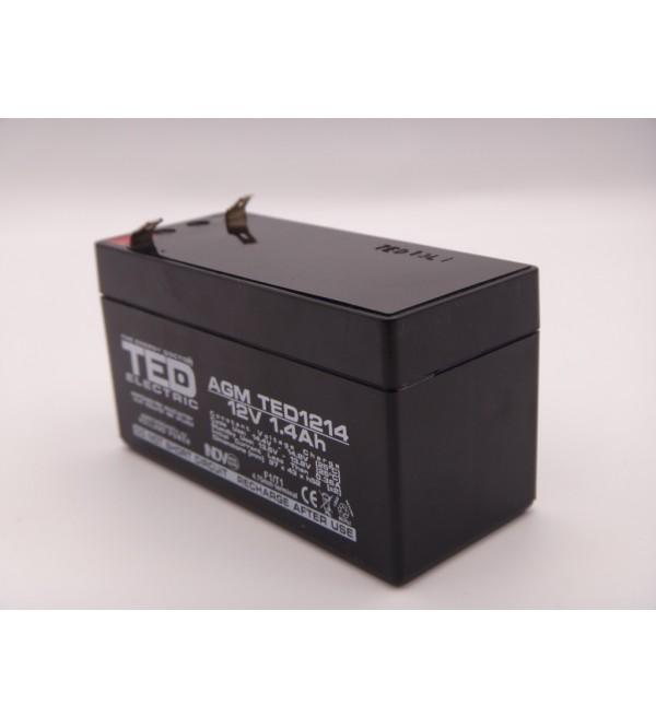 Acumulator 12V 1.4Ah VRLA, AGM 97 mm x 42 mm x 52 mm TED F1/T1