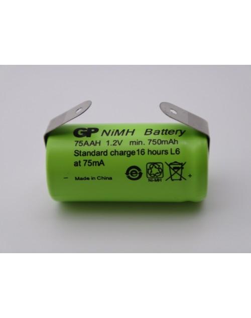 GP 75AAH acumulator industrial 2/3AA 750mAh Ni-Mh 1.2V 2/3R6 cu lamele pentru lipire