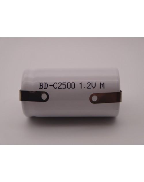 Acumulator BD-C2500 industrial R14, C 1.2V, Ni-Cd 2500mAh cu lamele pentru lipire