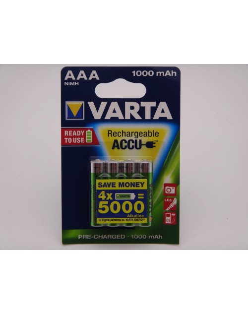 Varta HR03 AAA 1000mAh Ni-Mh acumulatori ready to use 1.2V blister 4