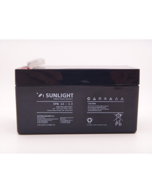 Sunlight 12V 1.3Ah acumulator AGM VRLA SPA 12-1.3