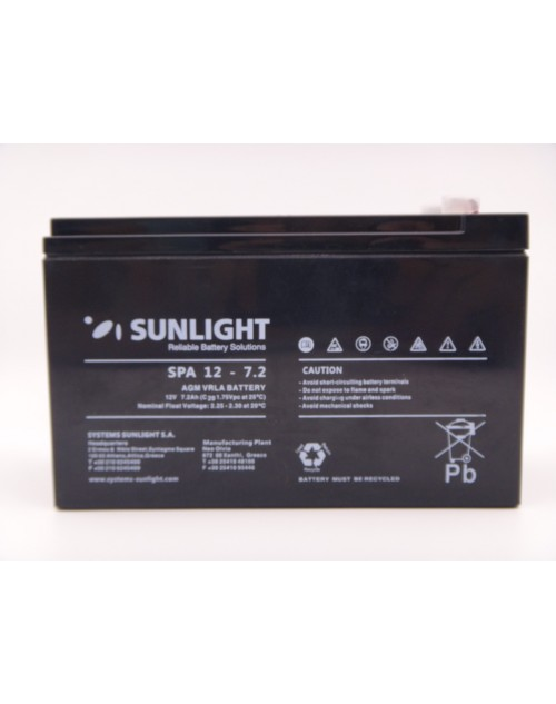 Sunlight 12V 7.2Ah acumulator AGM VRLA SPA 12-7.2