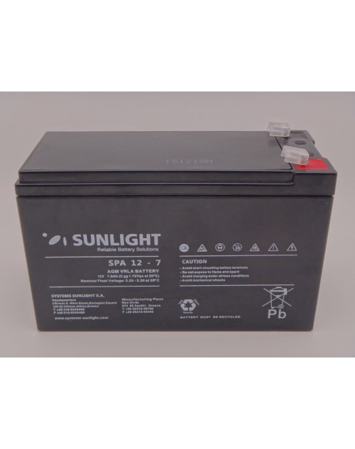 Sunlight 12V 7Ah acumulator AGM VRLA SPA 12-7