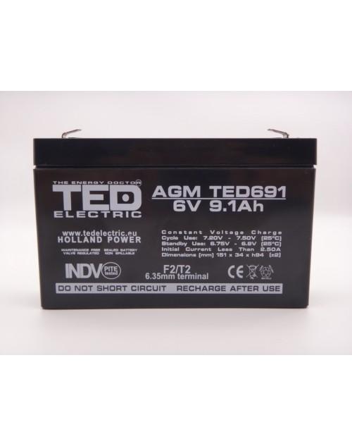 Acumulator 6V 9Ah 151mm x 34mm x 94mm VRLA AGM F2 / T2