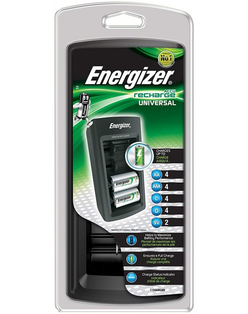 Energizer incarcator universal pentru AA, AAA, C, D, 9V 6F22, Ni-Mh 4 posturi