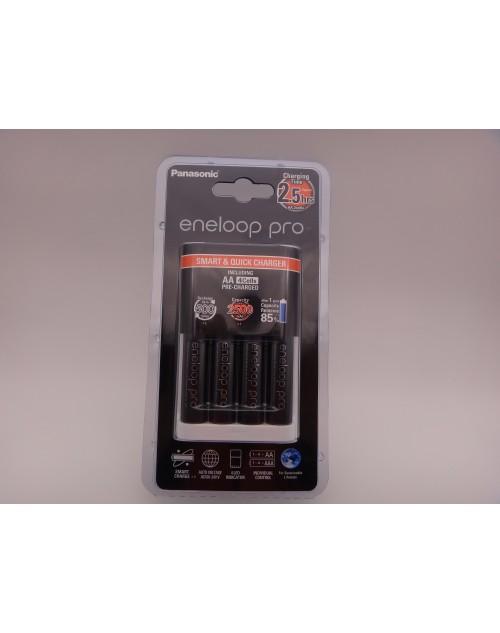 Incarcator PANASONIC Eneloop PRO BQ-CC16, include 4 R6 AA 2500mAh BK-3HCDE model K-KJ16HCD40E / MQR06-E-4-3UWX