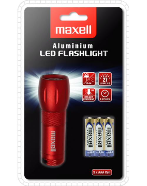 Maxell lanterna metal LED + lupa + zoom include 3 x R3 (AAA)
